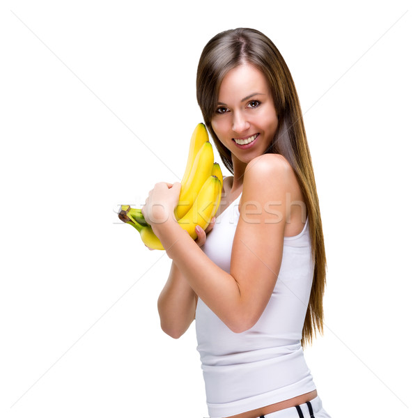 Gizli sağlıklı dengeli hayat kadın gıda Stok fotoğraf © Geribody