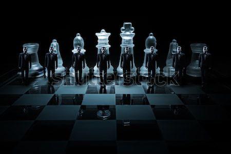 Szkła szachownica szczegół Fotografia działalności wojny Zdjęcia stock © Geribody