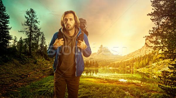 Hiker in the Italian Dolomites Stock photo © Geribody