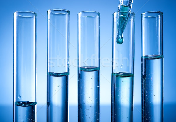 Laboratory equipment, test tubes line, a drop of liquid Stock photo © Geribody