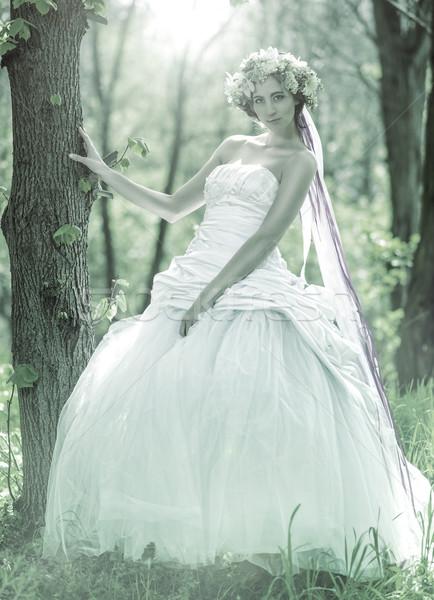Beautiful bride , flower tiara on her head , relying on the tree , monochrome Stock photo © Geribody