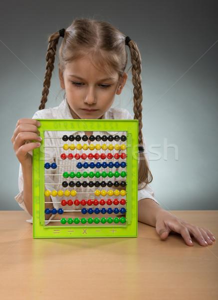 Gyönyörű kislány abakusz tábla lány gyerekek Stock fotó © Geribody