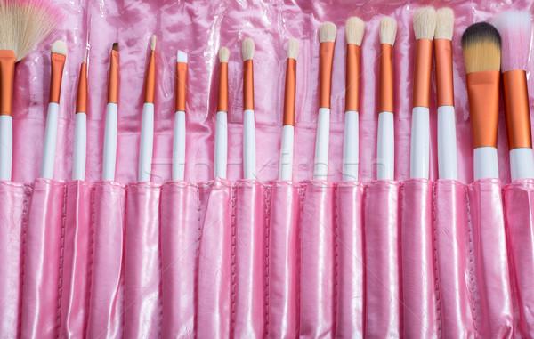 Rózsaszín sminkecset szett szépség fekete szín Stock fotó © Geribody