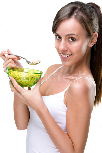Equilibrado desayuno mujer alimentos cara Foto stock © Geribody