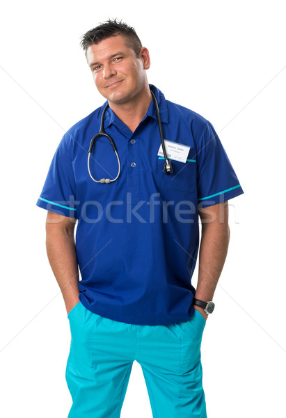 Handsome surgeon in blue special workwear Stock photo © Geribody