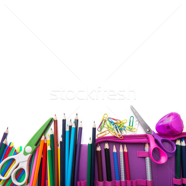 School stationery in a heap, bottom frame Stock photo © Geribody