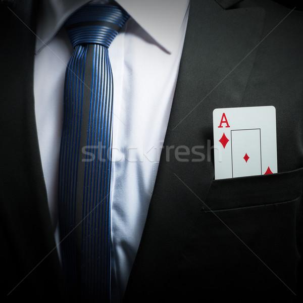 Pormenor foto ás cartão terno bolso Foto stock © Geribody