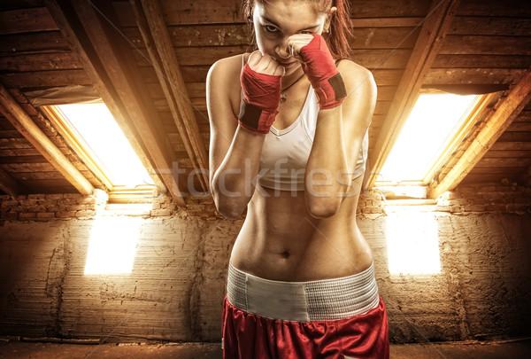 Boks egzersiz çatı katı kadın kız Stok fotoğraf © Geribody