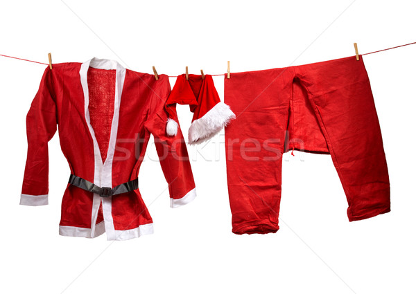 Kerstman kleding waslijn kinderen christmas vakantie Stockfoto © Geribody
