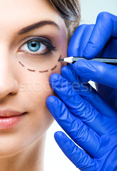 Plastic surgery - Beautiful Woman half face, with marked Stock photo © Geribody