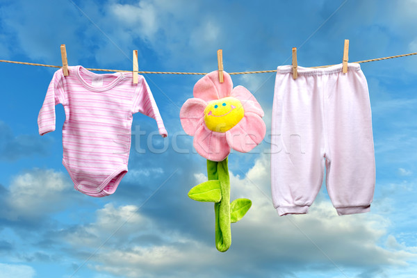 Baby girl clothes with flower  on the clothesline Stock photo © Geribody