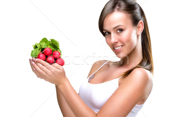 Eat healthily - Beautiful woman holding a bunch of radishes  Stock photo © Geribody