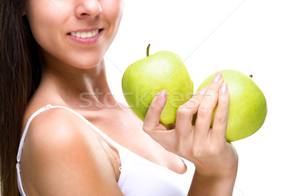 Healthy lifestyle - woman's hands, two beautiful green apple, detail photo  Stock photo © Geribody