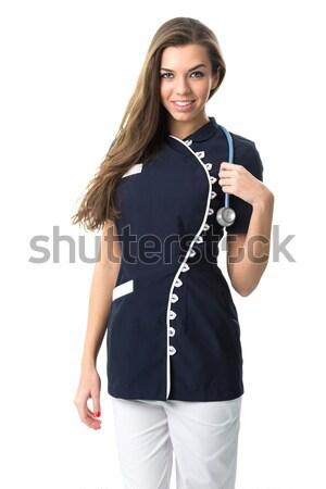 Güzel hemşire moda çalışmak elbise doktor Stok fotoğraf © Geribody