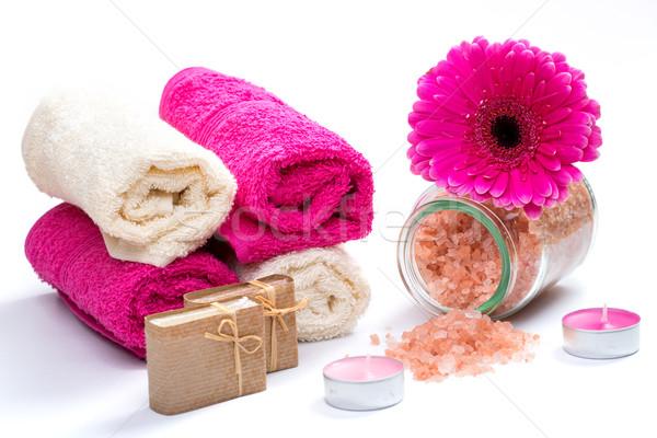Fürdő fürdőkád kellékek só virág természet Stock fotó © Geribody