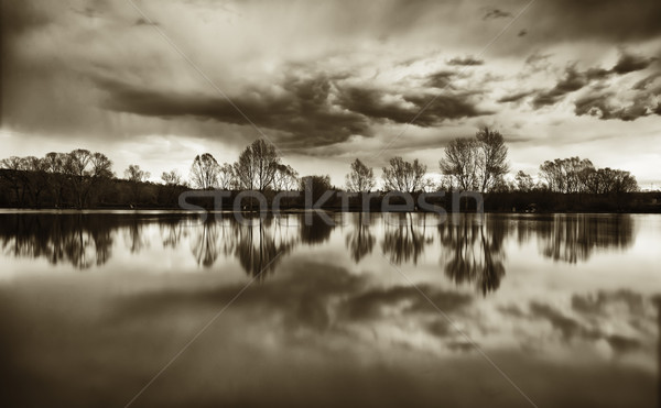 Fear lake landscape with cloud reflections Stock photo © Geribody