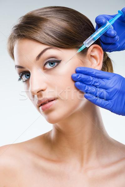 Chirurgie esthétique belle visage aiguille fille santé Photo stock © Geribody