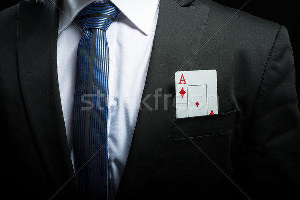 detail photo, ace card in his suit pocket Stock photo © Geribody
