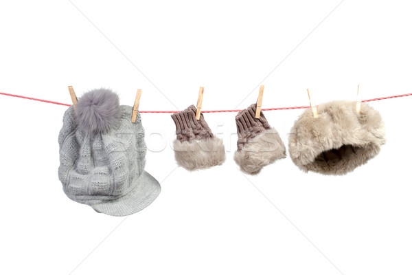 Women's winter accessories on the clothesline Stock photo © Geribody