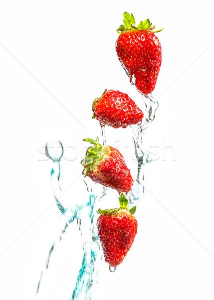 Stock fotó: Eper · csobbanás · fehér · gyümölcs · egészség · háttér