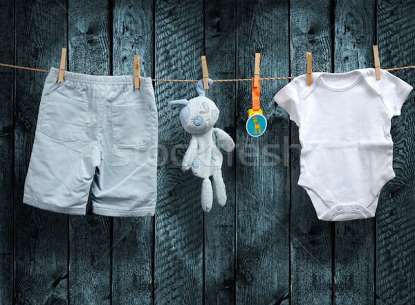Baby boy clothes and stuffed bunny on a clothesline Stock photo © Geribody