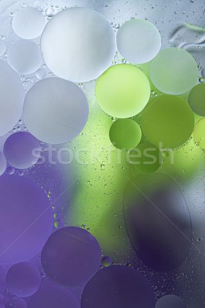 Roxo verde gradiente Óleo gotas água Foto stock © Geribody