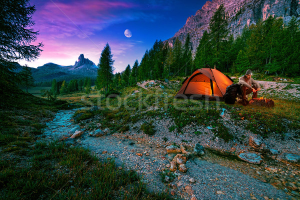 Mystical night landscape, in the foreground hike, campfire and tent Stock photo © Geribody