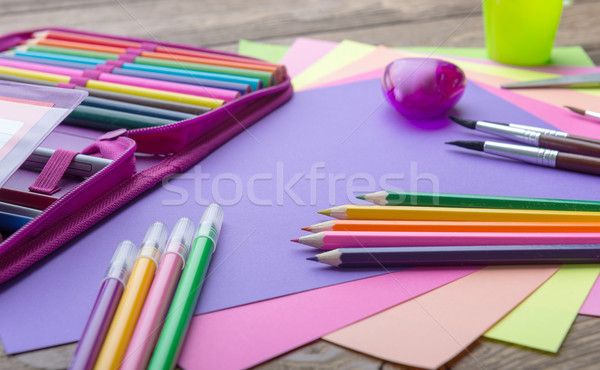 Many school stationery in a heap, cozy colors Stock photo © Geribody