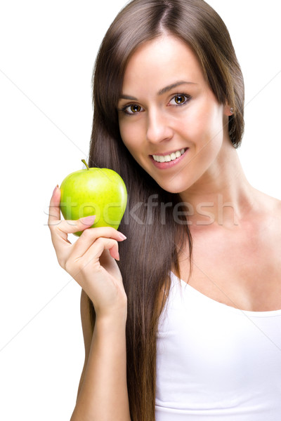 Stock photo: Healthful eating-Beautiful natural woman holds an apple