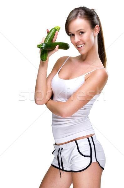 Viver comer bem mulher comida cara Foto stock © Geribody