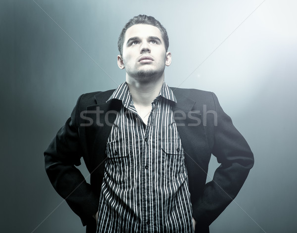Young, handsome boy - mystery photo Stock photo © Geribody