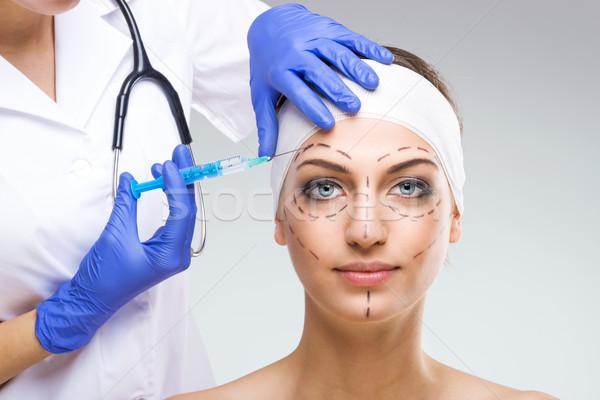 красивая женщина пластическая хирургия пластиковых хирург иглы Сток-фото © Geribody