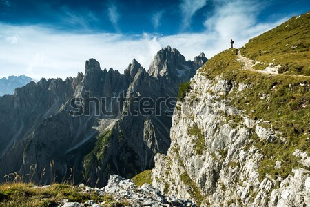 The hiker photographer, standing on the rocks in the Dolomites Stock photo © Geribody