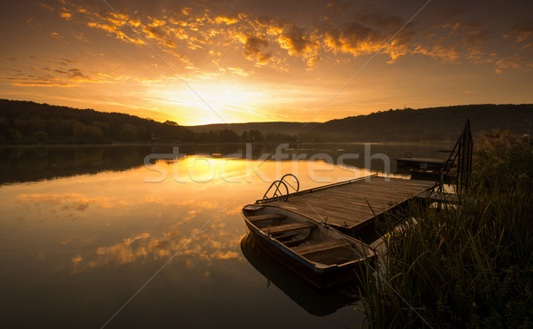 Mystical Landscape, Boat on the Pier at sunrise Stock photo © Geribody