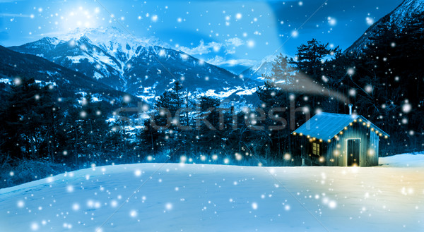 Small cozy Christmas cottage ,in the mountains Stock photo © Geribody