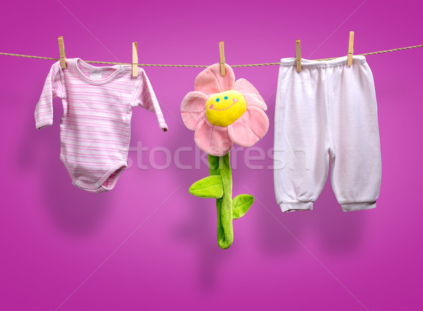 Baby girl y clothes   on the clothesline Stock photo © Geribody