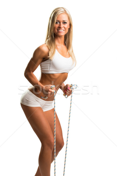 Woman with skipping-rope Stock photo © Geribody