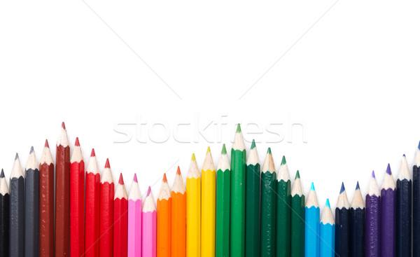 Many colored pencil triangle shape Stock photo © Geribody