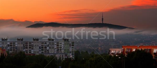 Wcześnie rano żółty jesienią miasta Świt budynku Zdjęcia stock © Geribody