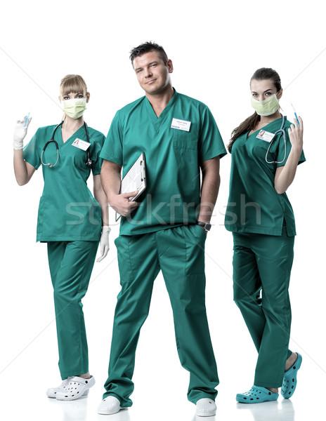 Cerrahi takım doktor iki yeşil Stok fotoğraf © Geribody