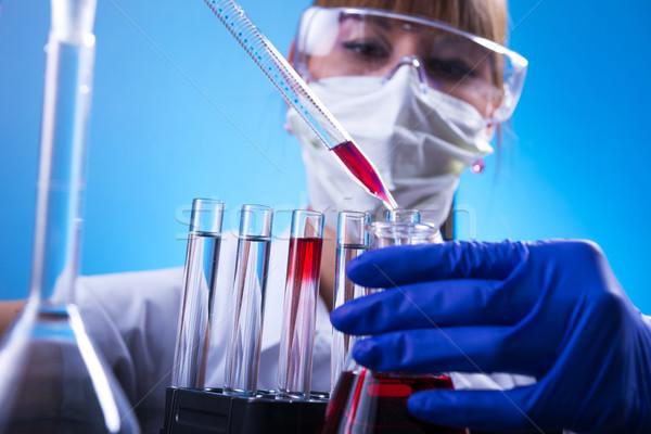 Foto stock: Laboratório · mulher · lab · médico · ciência · trabalhador