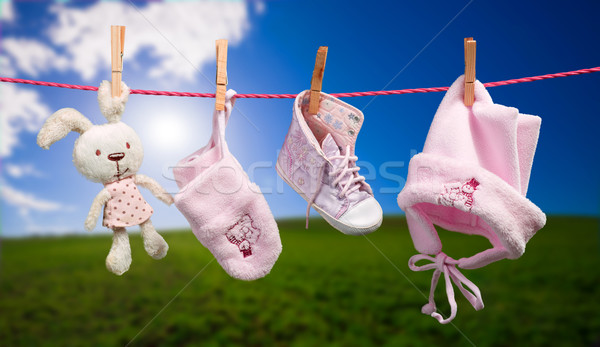 Baby clothes on the clothesline in outdoor Stock photo © Geribody