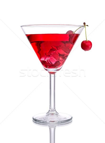 Rouge cocktail cerise isolé blanche eau Photo stock © Geribody