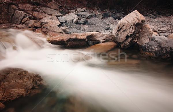 Torrente rocce primavera foresta cascata Foto d'archivio © Geribody