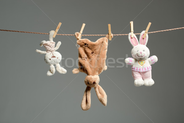 Plush bunnies on the clothesline,on  gray  background Stock photo © Geribody
