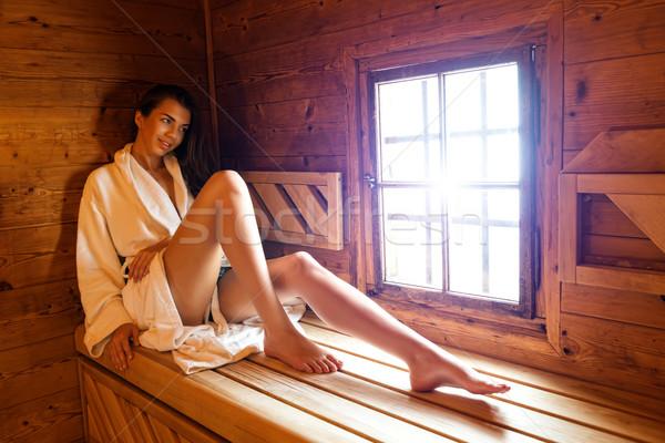 Mujer bonita sauna mujeres salud jóvenes spa Foto stock © Geribody