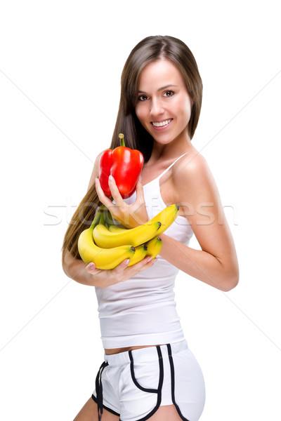 żyć zdrowych zrównoważony kobieta żywności twarz Zdjęcia stock © Geribody