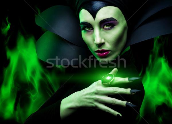 Demoniczny kobieta film zielone maska czarny Zdjęcia stock © Geribody