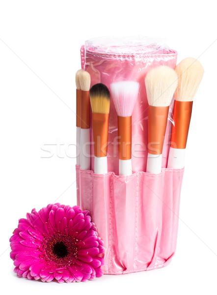 Pink makeup brush set with flower Stock photo © Geribody