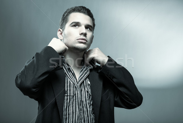 Genç yakışıklı erkek gizem fotoğraf adam Stok fotoğraf © Geribody
